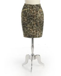 MICHAEL Michael Kors Petite Petites Snakeskin Print Pencil Skirt - Lyst