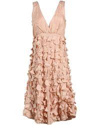 P.A.R.O.S.H. Sleeveless V-Neckline Beige Short Dress - Lyst
