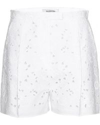 Valentino Embroidered Shorts with Cutout Detail white - Lyst
