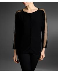 Emporio Armani Cardigan with Organza Detail At Sleeves - Lyst
