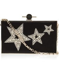 Jason Wu Star Embroidered Satin Box Clutch gold - Lyst