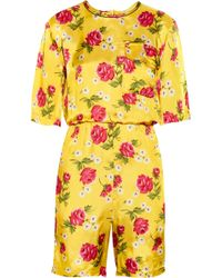 Marni - Floralprint Satin Playsuit - Lyst