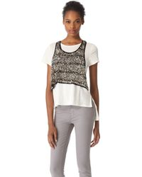 Gryphon - Crop Tank - Silver/white - Lyst