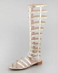 Stuart Weitzman Gladiator Metallic Stretch Sandal - Lyst