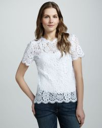 Charles Henry - Short Sleeve Lace Tee - Lyst