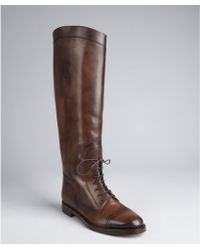 Gucci Chocolate Leather Laceup Tall Riding Boots - Lyst