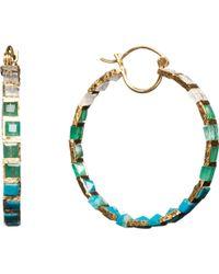 Nak Armstrong - Chrysocolla Emerald Rainbow Moonstone Hoop Earrings - Lyst