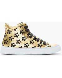 Rupert Sanderson Metallic Gold Leather and Black Suede Diadem Sneakers - Lyst