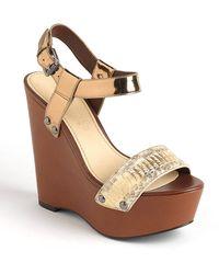 Vera Wang Jamaya Leather Platform Wedge Sandals - Lyst