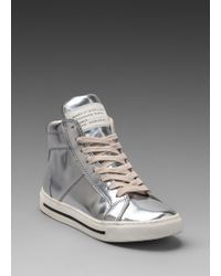 Marc By Marc Jacobs Mirror Reflective High Top Sneaker in Metallic Silver silver - Lyst
