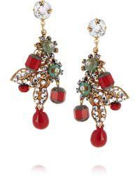 Bijoux Heart - Dragon Goldplated Swarovski Crystal Hematite and Glass Earrings - Lyst
