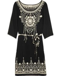 Collette by Collette Dinnigan | Belted Embroidered Chiffon Dress | Lyst