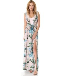 Peter Som Floral Gown with Exposed Bodice - Lyst