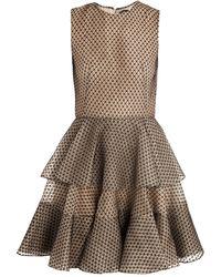 Alexander McQueen Lace Ruffle Dress beige - Lyst