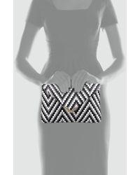 Elaine Turner - Bella Zigzag Raffia Envelope Clutch Bag - Lyst