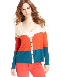 Kensie Long-Sleeve Color-Block Cardigan - Lyst