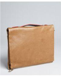 Pour La Victoire Tan Leather Yves Zip Clutch - Lyst
