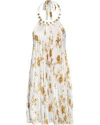 Versace Starfish Print Pleated Silk Dress - Lyst