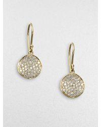 Ippolita Diamond And 18K Yellow Gold Disc Earrings - Lyst