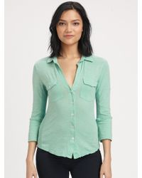 James Perse Contrast Panel Shirt green - Lyst