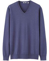 Uniqlo Men Cotton V Neck Sweater - Lyst