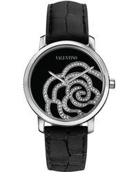 Valentino - Diamond Rose Crocodilestrap Watch - Lyst