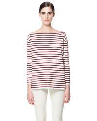 Zara Boat Neck Striped Sweater - Lyst