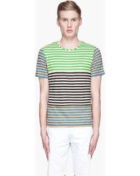 Originals x Opening Ceremony Orange and Green Striped Piece Blocked Tshirt - Lyst