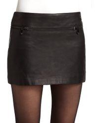 Andrew Marc - Leather Mini Skirt - Lyst