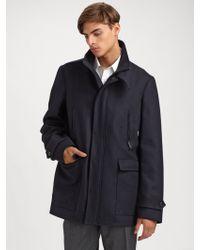 Burberry Wool Car Coat - Lyst