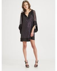 Halston Heritage Embroidered Silk Tunic Dress - Lyst