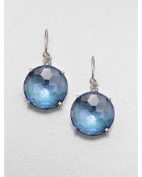 KALAN by Suzanne Kalan - London Blue Topaz, White Sapphire & 14K White Gold Drop Earrings - Lyst