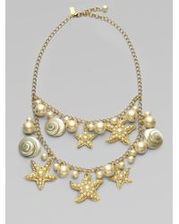 Kate Spade Shell Bead and Faux Pearl Bib Necklace - Lyst