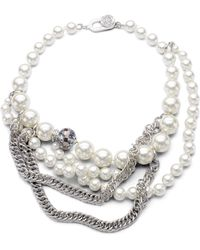 Kenneth Jay Lane Faux Pearl and Chain Necklace - Lyst