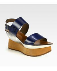 Marni Leather Wooden Platform Wedge Sandals - Lyst