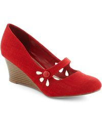 ModCloth | Everywhere You Go Wedge in Red | Lyst