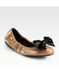 Prada Patent Leather Bow Ballet Flats - Lyst