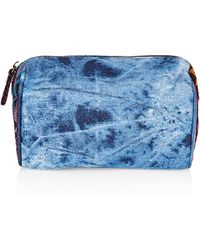 Topshop Denim Aztec Make Up Bag blue - Lyst