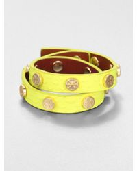 Tory Burch Snake Embossed Leather Stud Bracelet - Lyst