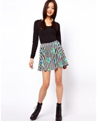 ASOS Collection  Skater Skirt in Stripe and Floral Print - Lyst