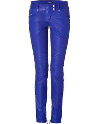 Balmain Low Rise Leather Biker Pants - Lyst