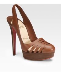 Christian Louboutin Lasercut Leather Slingbacks - Lyst