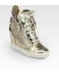 Giuseppe Zanotti Platino Studded Metallic Leather Wedge Sneakers - Lyst