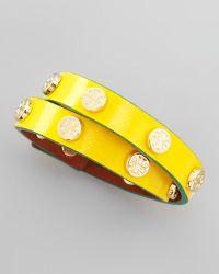 Tory Burch Logostudded Wrap Bracelet - Lyst