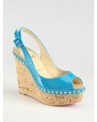 Christian Louboutin Monico Studded Patent Leather Cork Wedge Slingbacks - Lyst