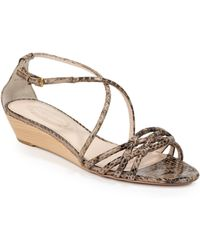 Elie Tahari - Hilary Snakeskin Wedge Sandals - Lyst