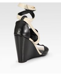 Rebecca Minkoff - Dupio Bicolor Leather Wedge Sandals - Lyst