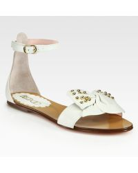 RED Valentino Studded Lambskin Bow Sandals - Lyst