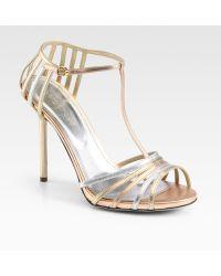 Sergio Rossi Metallic Leather Tstrap Sandals - Lyst