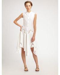 Behnaz Sarafpour - Embroidered Linen Drop Waist Dress - Lyst